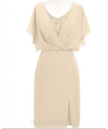 Sheath Scoop Short Sleeves Beige Mother of The Bride Dress with Beading ... - £94.25 GBP+