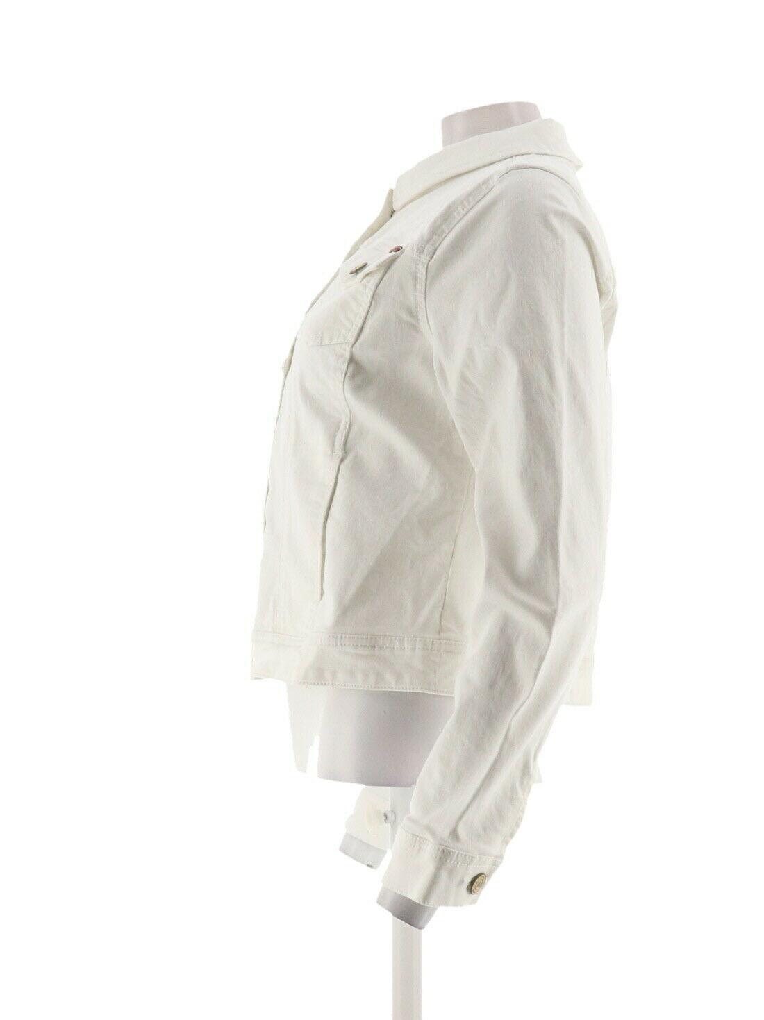 Isaac Mizrahi TRUE DENIM Jean Jacket Bright White 18W NEW A306370