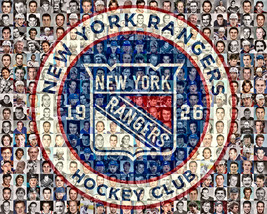 NY Rangers Mosaic Print Art Designed Using Over 80 Past and Present Rang... - $42.00+