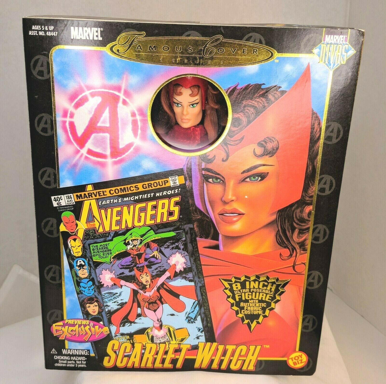 """Marvel Famous Cover Series 8"""" Ultra Poseable 2000 The Scarlet Witch #48449 NIP"""