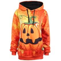 Plus Size Halloween Pumpkin Maple Hoodie(ORANGE XL) - $18.86