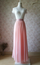 Blush Pink Chiffon Maxi Skirt Wedding Chiffon Skirt Floor Length Pink Skirt image 3