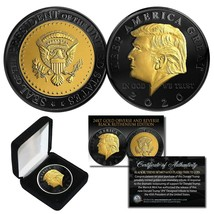 DONALD TRUMP '20 Keep America Great BLACK RUTHENIUM 24K GOLD Medallion C... - $18.66