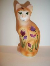 Fenton Glass Orange Tabby Spring Tulips Stylized Cat Kitten Ltd Ed K Barley 1/12 - $211.48