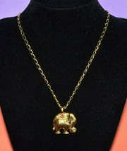 "AVON Gold Tone Elephant Pendant Statement Chain Necklace Layering Jewelry 28"" - $9.47"