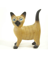 SIAMESE CAT Carved Wood Figurine Figure Painted Detailed Kitty Kitten Es... - $34.64