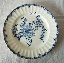 Salad Plate Bone China Royal Worcester Blue Floral Gold England - $12.16