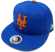 New York Mets Mlb Oc Sports Q3 Flat Hat Cap Solid Blue Orange Ny Logo Osfm - $16.99