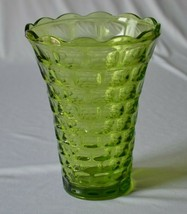 """Federal Glass Yorktown Olive Green Vase 8 1/8"""" Tall - $9.90"""