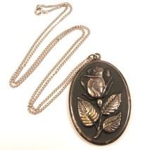Large Vintage Sterling Silver Black Enamel Rose Flower Pendant & Necklac... - $42.56