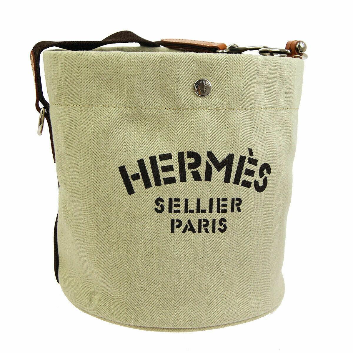 HERMES Sac De Pansage Shoulder Bag □L A R Ivory Brown Toile H Leather