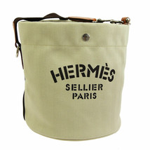 HERMES Sac De Pansage Shoulder Bag □L A R Ivory Brown Toile H Leather - $2,475.00