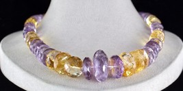 NATURAL CITRINE AMETHYST BEADS FACETED 1 LINE 875 CARATS GEMSTONE NECKLACE image 2