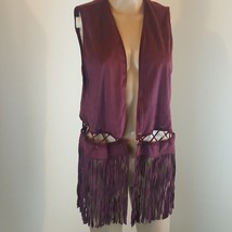 Anthropologie CoCo & Jameson Women's Vest Fringe Size XL Burgundy BoHo H... - $47.52