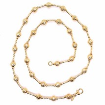18K ROSE GOLD CHAIN FINELY WORKED 5 MM BALL SPHERES AND TUBE LINK, 17.7 INCHES image 2