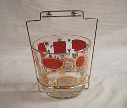 Old Vintage 1960s Jeannette Glass Ice Bucket Gold Tone Carrier Man Cave Barware - $34.64