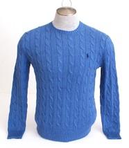 Polo Ralph Lauren Blue Cable Knit Cotton Sweater Men's NWT - $74.24