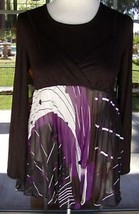 Unique Layered Look Accordion Pleat Kaelyn Max Shirt Sz. S,M - $9.99