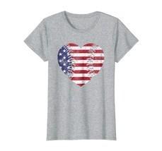 Baseball Heart Shirt American Flag July 4th Veteran USA Gift - €17,16 EUR+