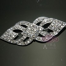 Vintage Style Bridal Wedding Rhinestone Ribbon Sash Dress Crystal Brooch... - $9.49