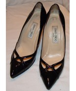 Jimmy Choo Black Patent Leather Stiletto Heels 37 7 Shoes Womens - $82.94