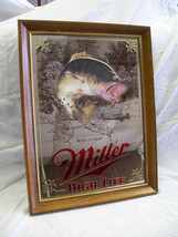 Vintage Miller Mirror Beer Sign Wisconsin Bass NOS with Box 1980s - $84.15