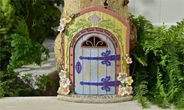 "12.2"" Fairy Garden Door Figurine w Textural Wood & Floral Detailing - Welcome"