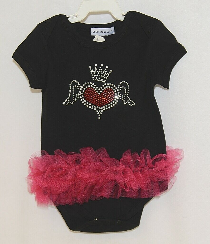 Doomagic Black One Piece Pink Tutu Red Heart Wings Crown Size 9 to 12 Months