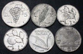 Collection of 6 Italy Coins - Date Range: 1941 - 1955 ***Great Condition*** - $2.46