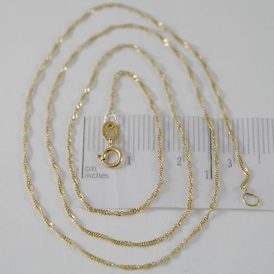 SOLID 18K YELLOW GOLD SINGAPORE BRAID ROPE CHAIN 16 INCHES, 1 MM, MADE IN ITALY