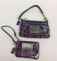 COACH Poppy pink purple blue Set Of 2 matching wallet wristlets Purse - $58.81