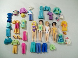 LOT OF 4 POLLY POCKET DOLLS BOY DOLLS CLOTHES PANTS TOPS CHEF HAT - $19.55