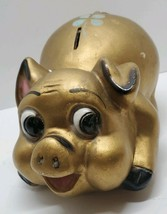 Antique Vtg Large Gold Happy Pig Piggy Bank AN Brooks Chicago Chalkware ... - $67.72
