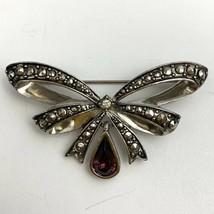 Avon February Birthstone Brooch Pin Silver Tone Bow Purple Rhinestone Marcasite  - $12.82