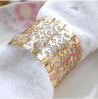 100pcs Laser Cut Napkin Ring Metallic Paper Napkin Rings for Wedding Decoration - $34.00