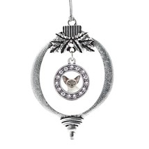 Inspired Silver Oriental Cat Circle Holiday Christmas Tree Ornament With Crystal - $14.69
