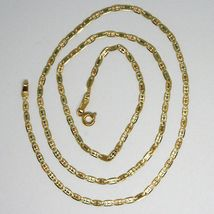18K YELLOW ROSE WHITE GOLD CHAIN 19.7 INCHES OVAL LINK 2 MM, MADE IN ITALY image 3
