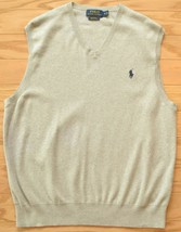 Polo Ralph Lauren Mens Size Medium Gray Pima Cotton Knit Sweater Vest EUC - $23.74