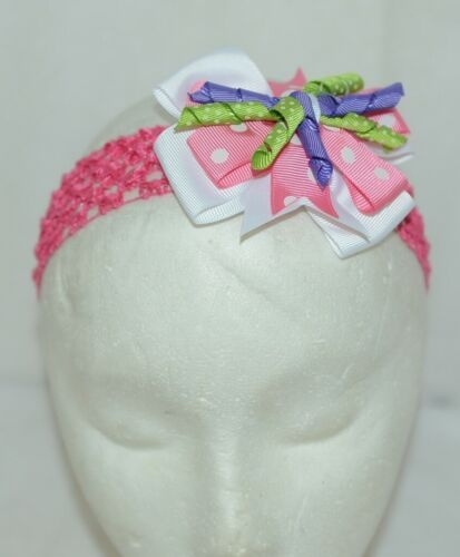 Unbranded Girl Infant Toddler Headband Removable Hair Bow Pink PolkaDot Curly Qs