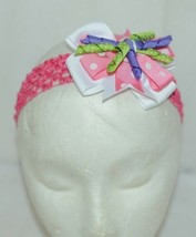 Unbranded Girl Infant Toddler Headband Removable Hair Bow Pink PolkaDot Curly Qs image 1