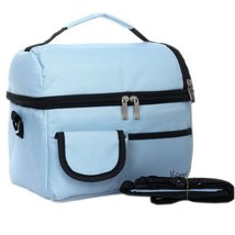 Infant Bottle Tote Bag Baby Keep Milk Fresh Bag Double-Deck Travel Package Blue