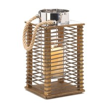 Candle Lanterns Decorative, Outdoor Patio Hudson Rustic Wooden Candle La... - $35.99