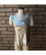 Style & Co Woman Size 1X Beige Sleeveless Tank Top All-Over Front Silver... - $17.81