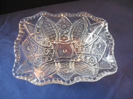 Indiana Glass Paneled Daisy & Finecut Clear Small Rectangular Fruit/Dessert Bowl - $9.99