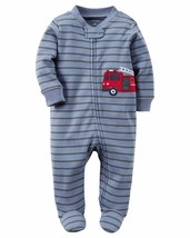 NEW Boys Carters Newborn or 3 Months Fire Engine Truck Sleeper Sleep and... - $8.99