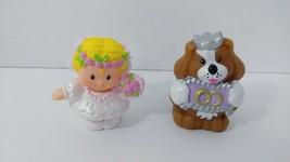 Fisher Price Little People Bride Ring bearer puppy dog 2 pc wedding set lot - $94,75 MXN