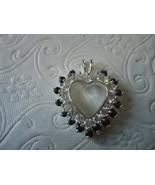 Vintage Silver Heart Shaped Pendant Herringbone necklace, never worn - $20.00