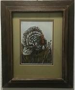 Thanksgiving turkey rustic frame original painting signed  K. Inman 75 - $356.40