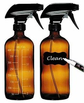2 Empty Amber Glass Spray Bottles (16oz) with 8 Labels, 2 Caps, 2 White - $11.43