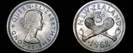 1962 New Zealand 3 Pence World Coin - $3.99